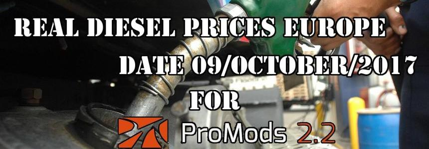 Real Diesel Prices for Europe for ProMods v2.20 (date: 09/10/2017)