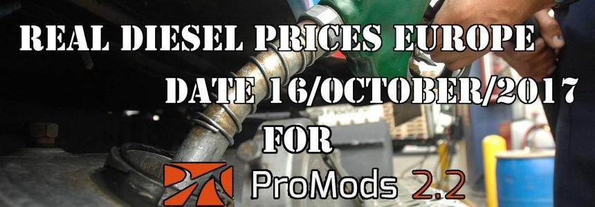 Real Diesel Prices for Europe for ProMods 2.20 (date: 16/10/2017)