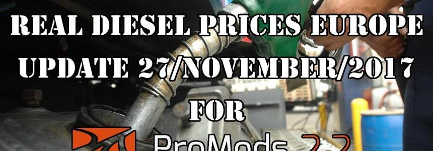 REAL DIESEL PRICES FOR EUROPE FOR PROMODS V2.20 (DATE: 27/11/2017)