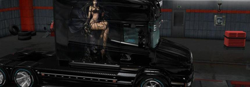 Girl in black skin for scania