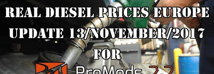 REAL DIESEL PRICES FOR EUROPE FOR PROMODS v2.20 (DATE: 13/11/2017)