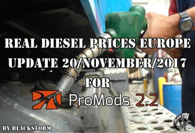 Real Diesel Prices for Europe for Promods v2.20 (Date: 20/11/2017)