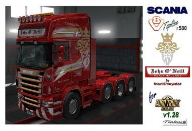 Scania R580 V8 Topline – John O'Neill Texture (RJL) v1.0