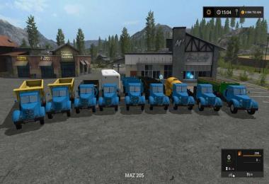 Trucks and trailers MAZ and YAZ 200 SERIES v1.0