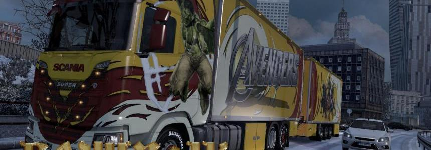 Scania S 2016 SCS Marvel Super Heroes skin-pack 1.30
