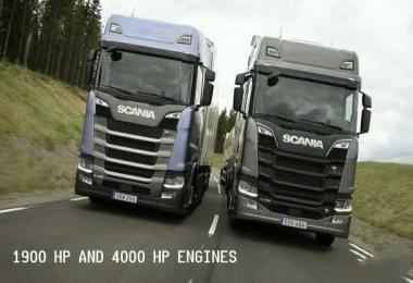 New Scania S and R 1900 HP and 4000 HP Engines