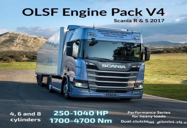 OLSF Engine Pack V4 for Scania R & S 2017 – ETS2 1.30.x