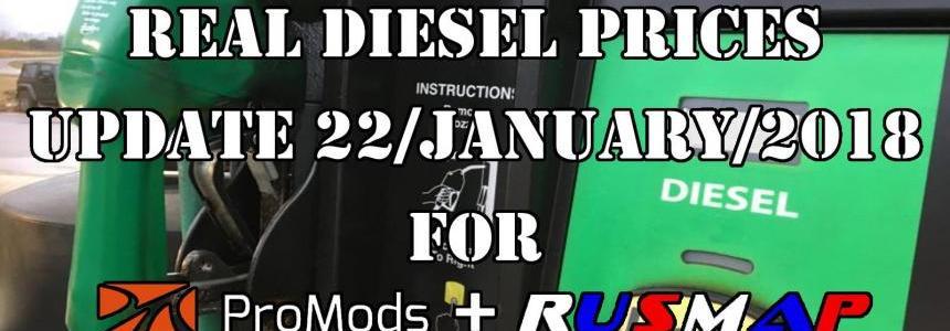 Real Diesel Prices Promods v2.25 & RusMap v1.8 (update 22-01-2018)