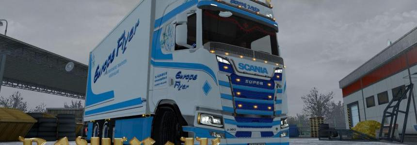 Scania S 2016 SCS Europe Flyer skin-pack 1.30