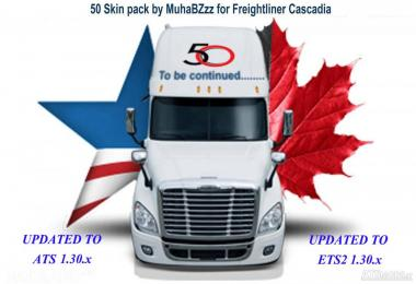 50 SKINS PACK FOR FREIGHTLINER CASCADIA 1.30.x