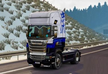 Skin Blue V8 for Scania R 1.30