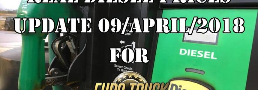 Real Diesel Prices for Euro Truck Simulator 2 Map Update 09/04/2018