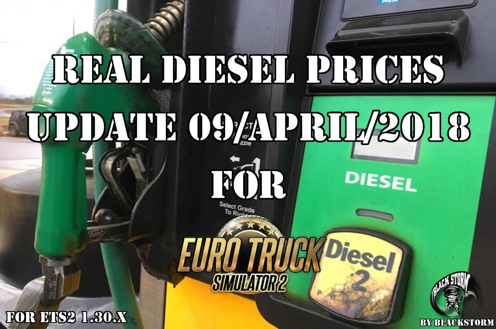 Real Diesel Prices for Euro Truck Simulator 2 Map (Update 09/04/2018)