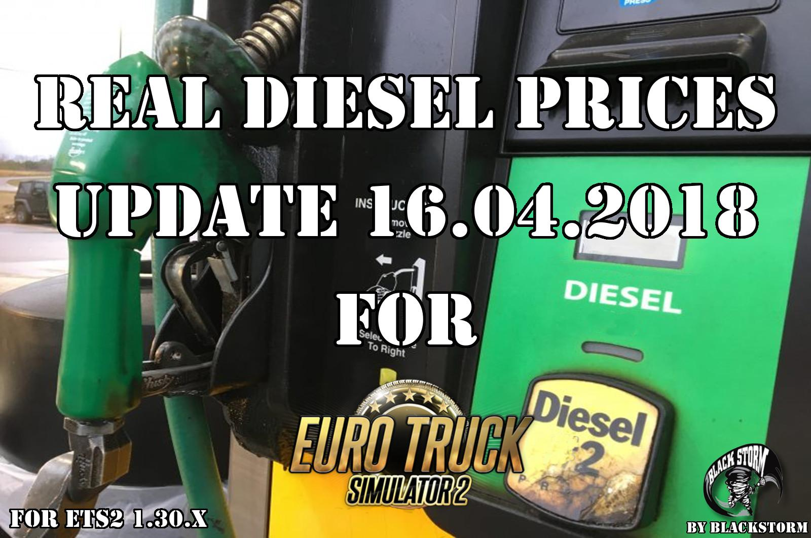 Real Diesel Prices for Euro Truck Simulator 2 map (updated 16/04/2018)