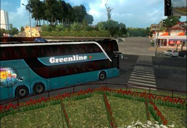 Green double decker setra 432 DT bus + bd skin v1.0