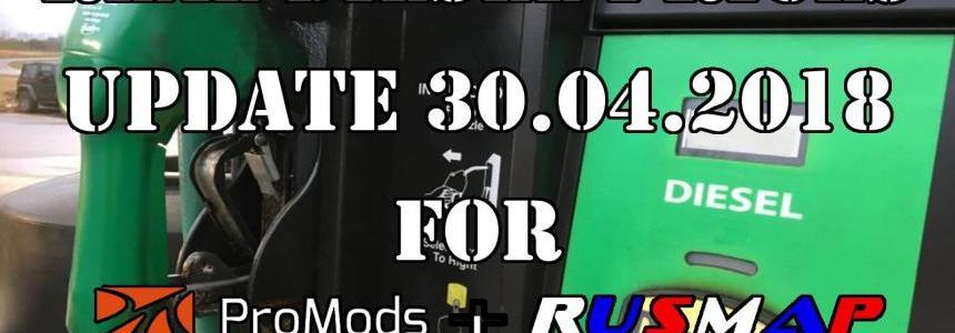 Real Diesel Prices for Promods Map v2.26 & RusMap v1.8 (30.04.2018)
