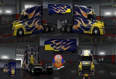 Freightliner Cascadia 2018 Combo Skin Pack  Burnin style v1.0
