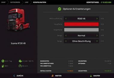 Scania R720 V8 nachtrag V1.0.0.1