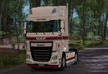 DAF XF E6 Skin White Red + Interior White Black 1.31