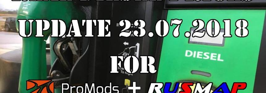 Real Diesel Prices for Promods Map 2.27 & RusMap 1.8 (23.07.2018)