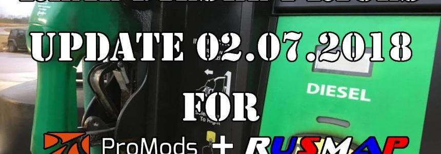 Real Diesel Prices for Promods Map v2.27 & RusMap v1.8 (02.07.2018)