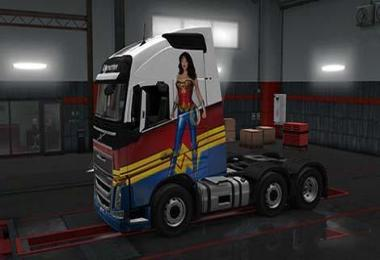 Wonder woman Volvo FH16 skin 1.31