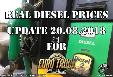 Real Diesel Prices for ETS2 map (udp 20.08.2018)