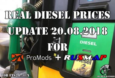 Real Diesel Prices for Promods Map v2.27 & RusMap v1.8  (upd.20.08.2018)