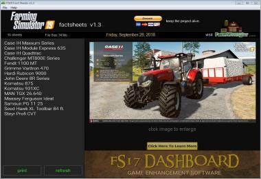 FS19 Factsheets Software v1.3