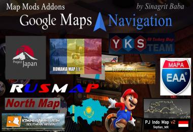 ETS - Google Maps Navigation Normal & Night Map Mods Addons