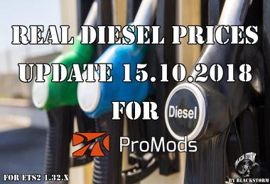 Real Diesel Prices for Promods Map v2.31 (15.10.2018)
