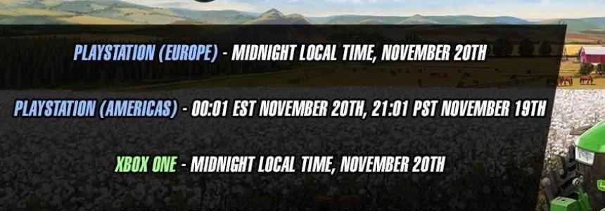 Official release times for FS19