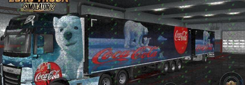 Xmas Coca-Cola Bear Combo Skin DAF XF E6 + Ownership Trailer v1.0
