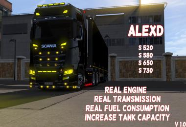 ALEXD Real Engine For Scania S520-S730 v1.0