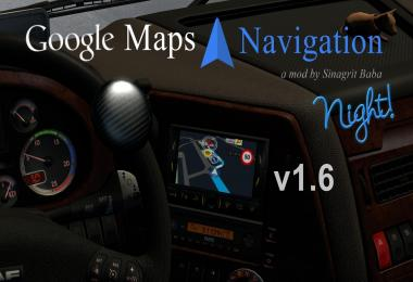 ETS 2 - Google Maps Navigation Night Version v1.6
