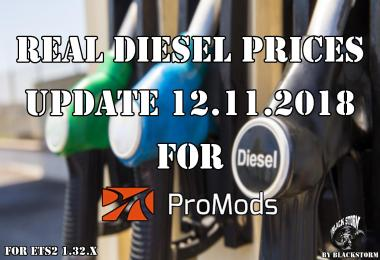 Real Diesel Prices for Promods Map 2.31  (upd.12.11.2018)
