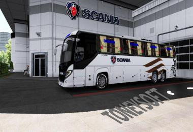 Scania touring bus new 4k skin and update glass and sticker v3.0