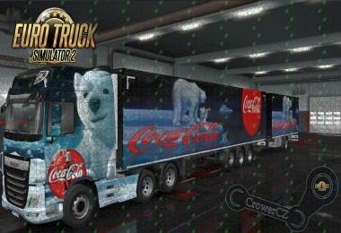 Xmas Coca-Cola Bear Combo Skin DAF XF E6 + Ownership Trailer v1.0