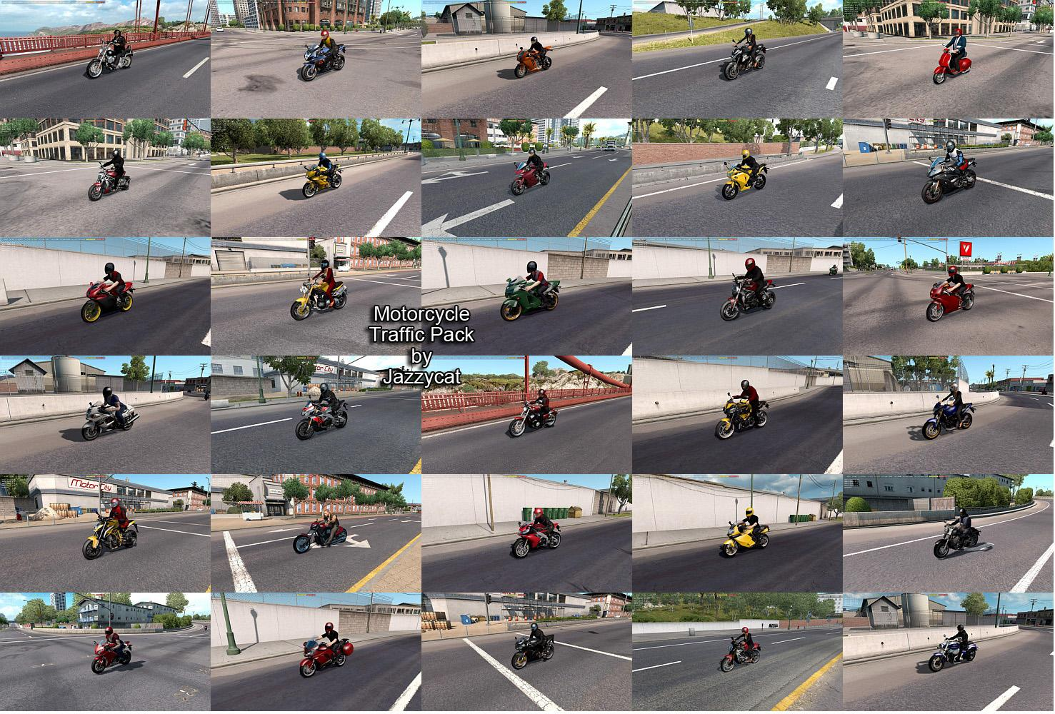 Motorcycle Traffic Pack by Jazzycat v3.3 Mod ATS