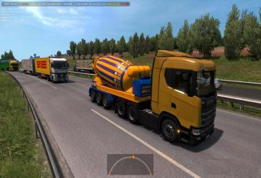 Bright Yellow-Blue Concrete Mixer In Traffic ETS2 1.33.x