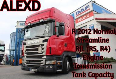 ALEXD Scania R 2012, Streamline & RJL( R4, RS) Engine, Transmission v1.0