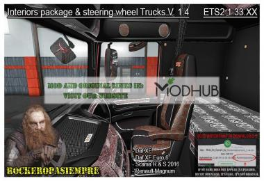 Interior package & steering wheel Trucks v1.4 For 1.33.x
