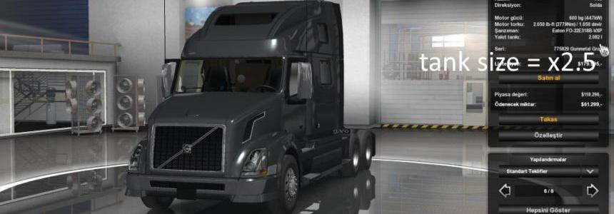 [ATS] Tank size + engine torque x2.5 for all Trucks v1.0