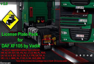 License Plate Pack for DAF XF105 by Vad&k v2.0