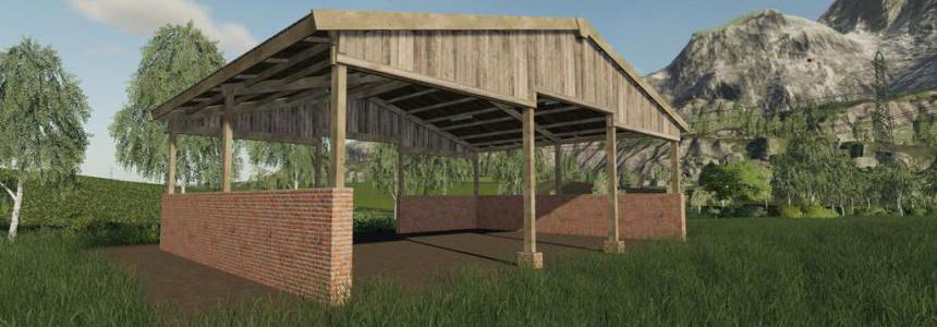 Wood Frame Open Sheds With Brick Wall v1.0.0.0