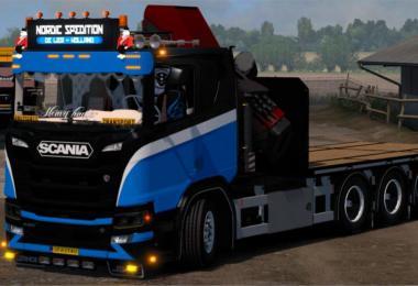 Scania Flatbed Crane Tandem Addon v1.0