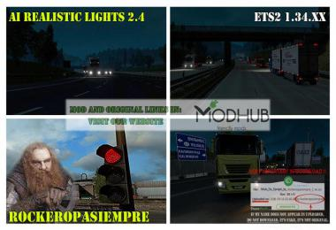 AI Realistic lights v2.4 for ETS2 1.34.x