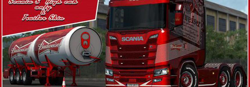 Budweiser Scania & Trailer Skins v1.0 1.35.x