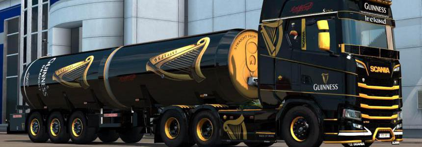 Guinness Scania S&R + Trailer Skins v1.0