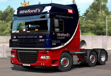 DAF XF 105 Skin Wrefords Transport 1.35.x